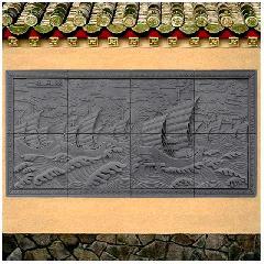 一帆风顺仿砖雕浮雕挂件