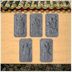 福禄寿喜财砖雕挂件浮雕