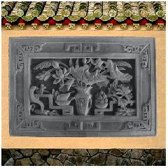 砖雕浮雕荷花博古仿古影壁照壁