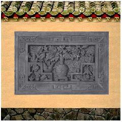 牡丹博古仿古砖雕