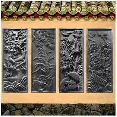 梅兰竹菊仿古砖雕