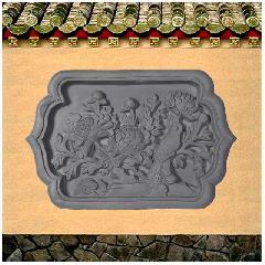 浮雕砖雕牡丹花开富贵