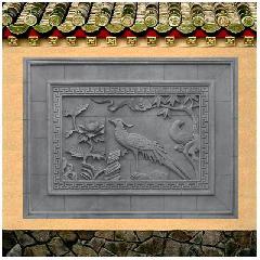 雉鸡牡丹砖雕