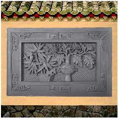 砖雕浮雕竹菊博古