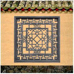 砖雕挂件透窗仿古影壁照壁青砖背景墙装饰