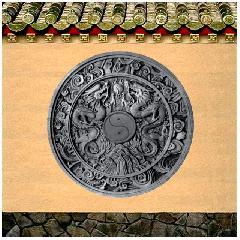 砖雕浮雕双龙戏珠圆形挂件装饰摆件