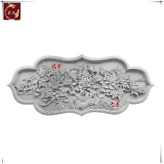 仿古砖雕影壁墙 青砖雕刻 中式四合院照壁芯牡丹龙荼砖雕厂家直销