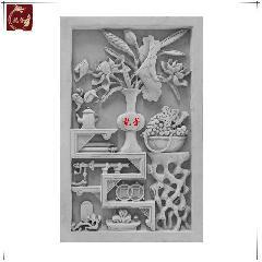 荷花博古青砖砖雕仿古浮雕画中式影壁墙照壁装饰背景庭院龙荼砖雕