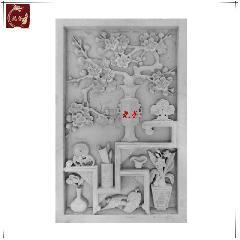 梅花博古青砖砖雕仿古浮雕画中式影壁墙照壁装饰背景庭院龙荼砖雕
