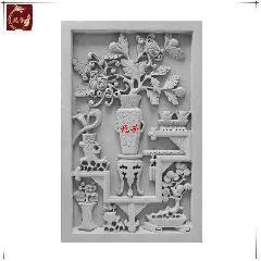 牡丹博古青砖砖雕仿古浮雕画中式影壁墙照壁装饰背景庭院龙荼砖雕