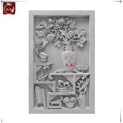 菊花博古青砖砖雕仿古浮雕画中式影壁墙照壁装饰背景庭院龙荼砖雕