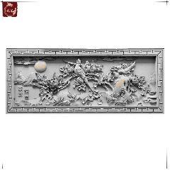 砖雕仿古砖雕影壁墙四合院定制徽派苏派青砖砖雕花开富贵龙荼砖雕