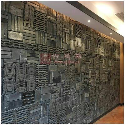 新中式创意瓦片背景墙